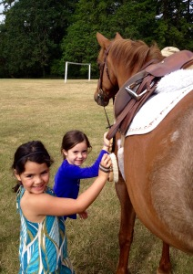 Sofia & Sadie Brushing The Horse
